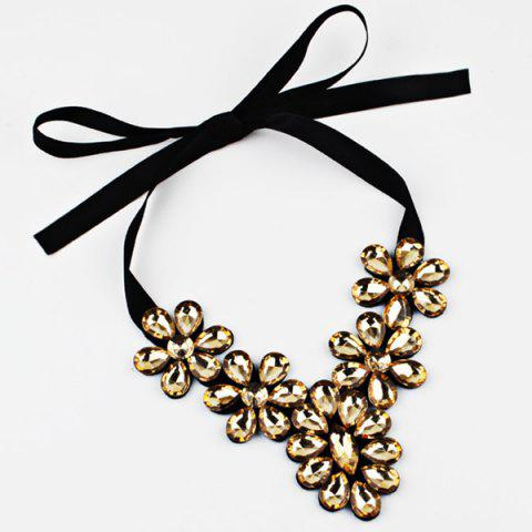 Exaggerated Faux Crystal Flower Ribbon Necklace - YELLOW