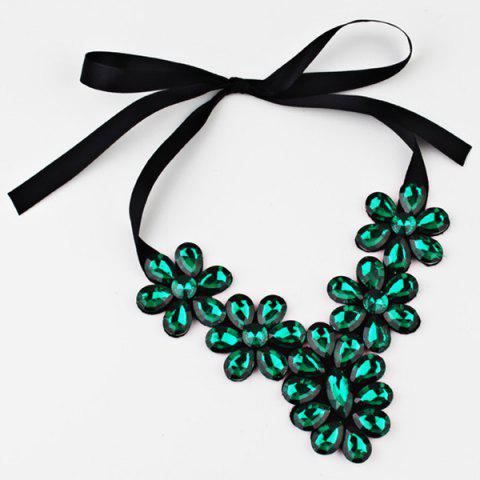 Exaggerated Faux Crystal Flower Ribbon Necklace - GREEN