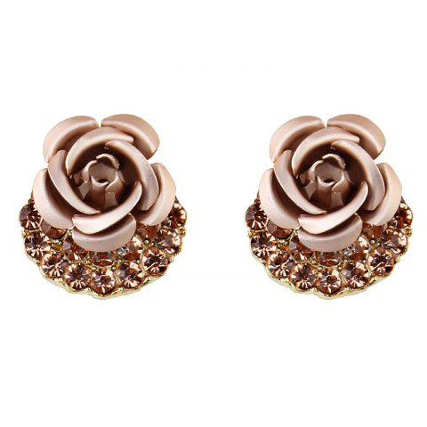 Artificial Crystal Inlay Rose Stud Earrings - CHAMPAGNE