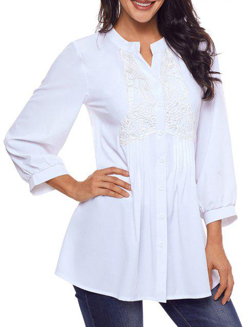 d5cd4786f2b 89% OFF] 2019 Lace Panel Split Neck Pintuck Tunic Blouse In WHITE ...