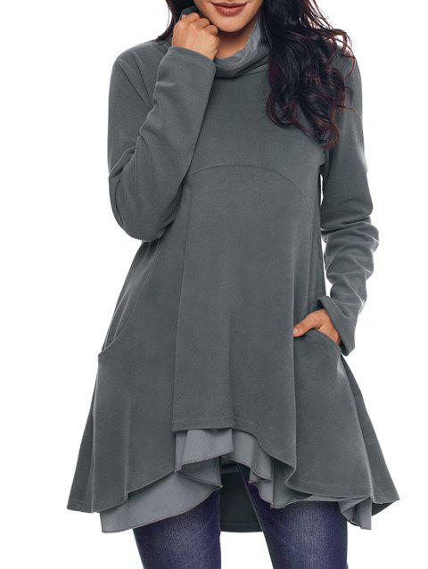 Cowl Neck High Low Tiered Tunic Top - GRAY M