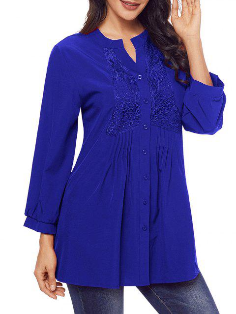 Lace Panel Split Neck Pintuck Tunic Blouse - BLUE S