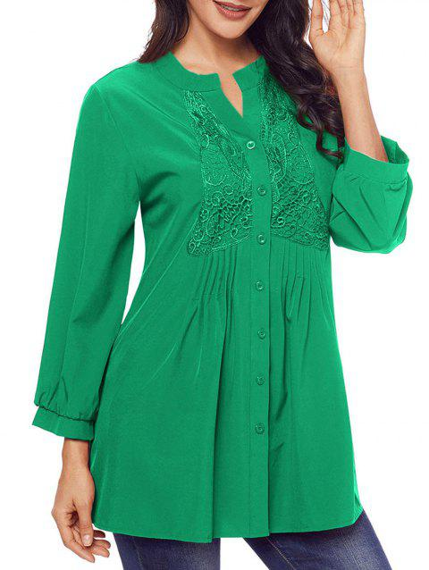 45b6779a6b9 LIMITED OFFER] 2019 Lace Panel Split Neck Pintuck Tunic Blouse In ...