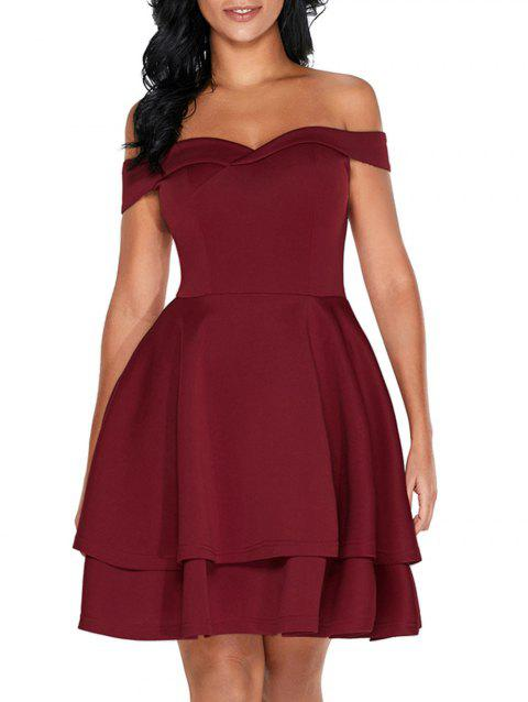Off The Shoulder Layered Mini Dress - BURGUNDY 2XL