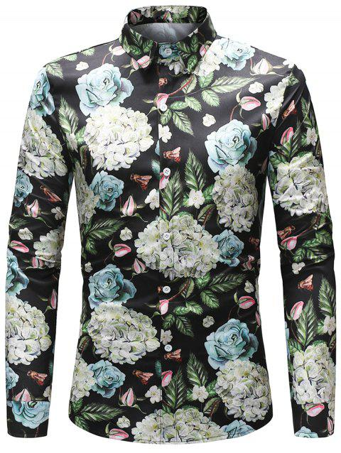 Bright Florals and Leaves Printed Shirt - COLORMIX 2XL