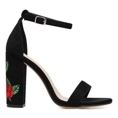 Flower Embroidered Two-piece Sandals - BLACK 36