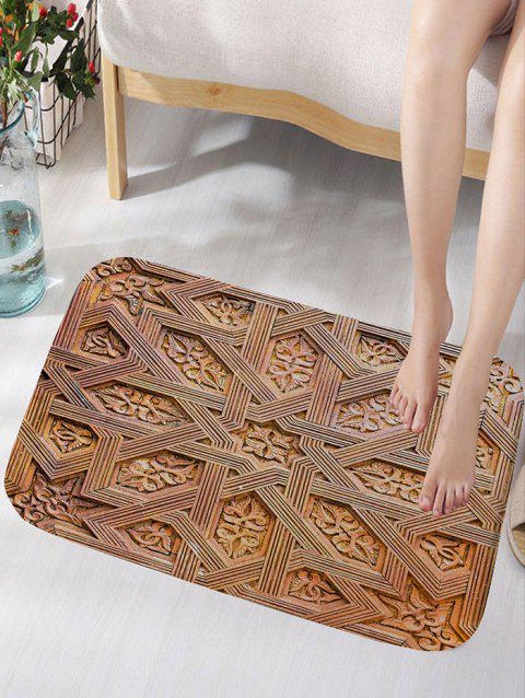 Carving Wood Pattern Skidproof Area Rug - WOOD COLOR W16 INCH * L24 INCH