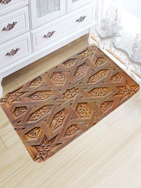 Carving Wood Pattern Skidproof Area Rug - WOOD COLOR W20 INCH * L31.5 INCH