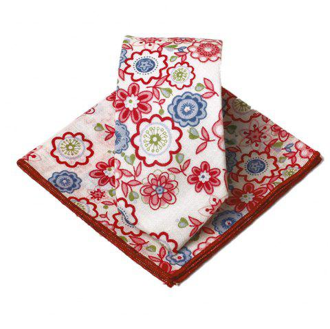 Unique Floral Pattern Handkerchief Neck Tie Set - ROSE MADDER
