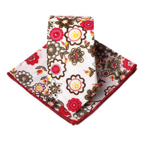 Unique Floral Pattern Handkerchief Neck Tie Set - RED