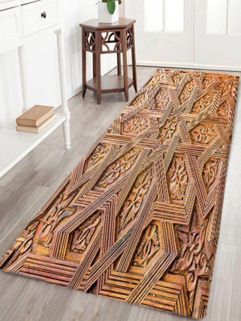 Carving Wood Pattern Skidproof Area Rug - WOOD COLOR W24 INCH * L71 INCH