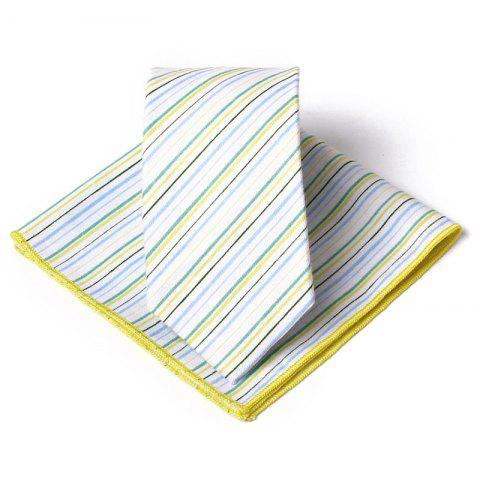 Colored Striped Pattern Necktie Handkerchief Set - YELLOW