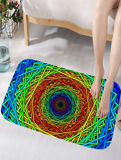 Abstract Psychedelic Geometric Skidproof Bath Rug - COLORFUL GEOMETRIC W16 INCH * L24 INCH