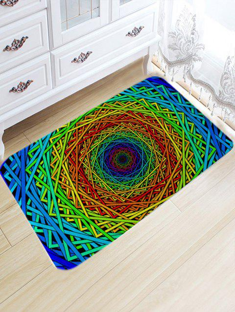 Abstract Psychedelic Geometric Skidproof Bath Rug - COLORFUL GEOMETRIC W20 INCH * L31.5 INCH