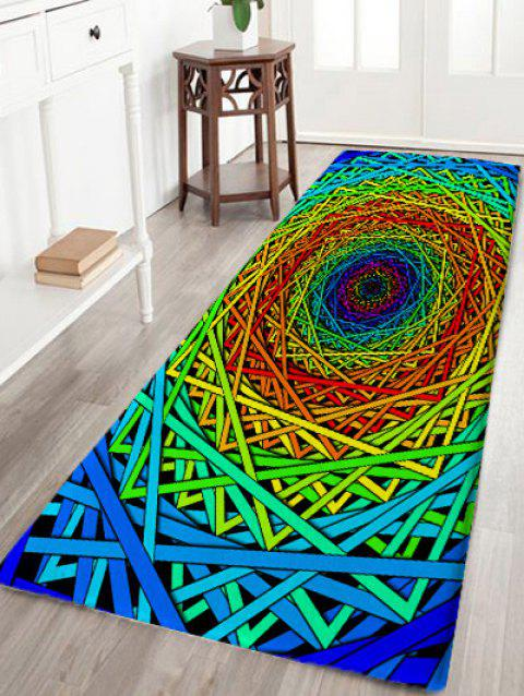 Abstract Psychedelic Geometric Skidproof Bath Rug - COLORFUL GEOMETRIC W24 INCH * L71 INCH
