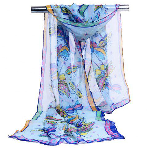 Flying Butterfly Pattern Embellished Silky Long Scarf - BLUE