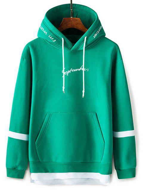 Graphic Embroidered Faux Twinset Hoodie - GRASS GREEN 3XL