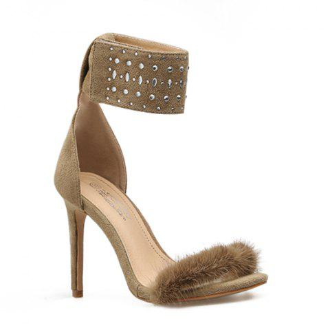 Fluffy Ankle Strap Dress Sandal - APRICOT 36