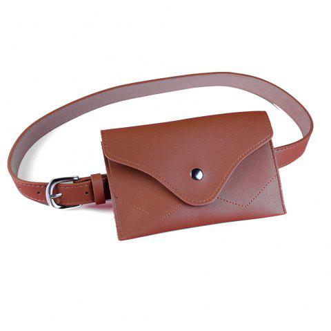 Removable Funny Bag Embellished Artificial Leather Skinny Belt - CHOCOLATE