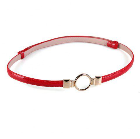 Simple Metal Round Buckle Embellished Skinny Belt - RED