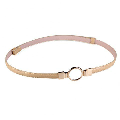 Simple Metal Round Buckle Embellished Skinny Belt - KHAKI