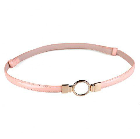 Simple Metal Round Buckle Embellished Skinny Belt - PINK