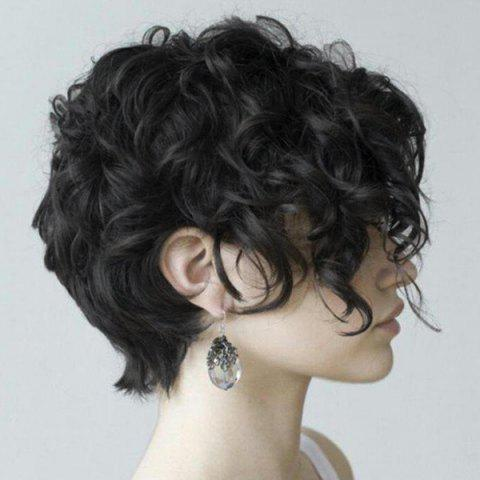 Short Inclined Fringe Fluffy Curly Synthetic Fiber Wig - NATURAL BLACK