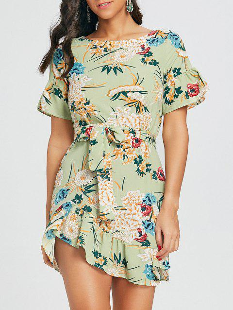 Floral Print Belted Dress - GREEN S