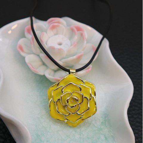Valentine's Day Enamel Rose Flower Pendant Necklace - YELLOW