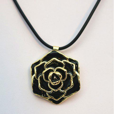 Valentine's Day Enamel Rose Flower Pendant Necklace - BLACK