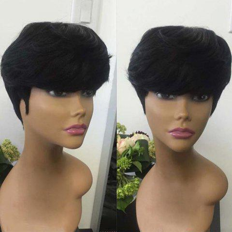 Short Inclined Bang Straight Capless Synthetic Fiber Wig - BLACK