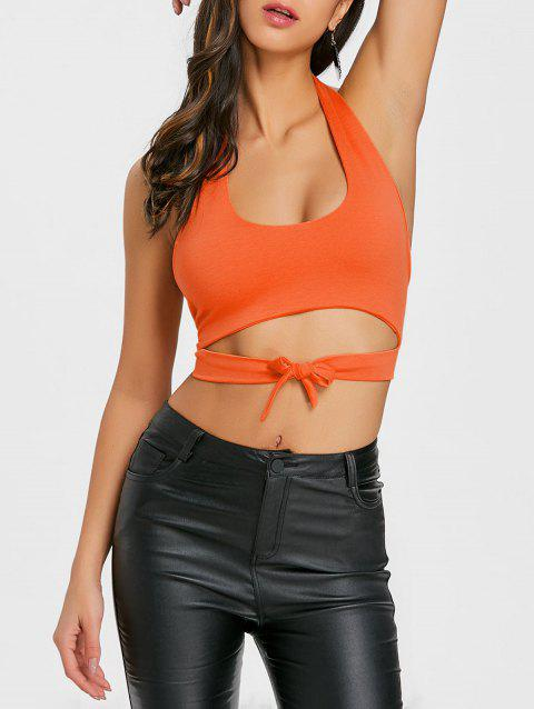 Tie Up Backless Halter Crop Top - JACINTH XL
