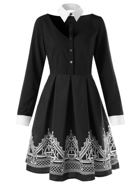 Building Printed Long Sleeve Flare Shirt Dress - BLACK M