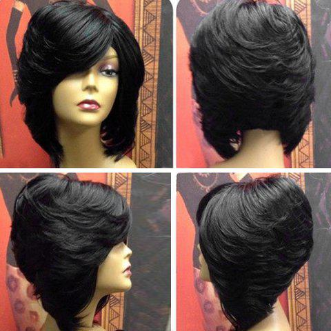 Short Upwards Side Bang Straight Layered Feathered Inverted Bob Synthetic Wig - BLACK