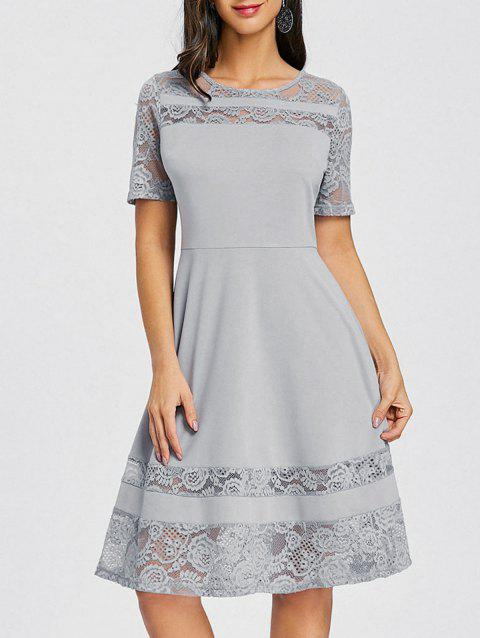 Lace Insert Party A Line Dress - GRAY M