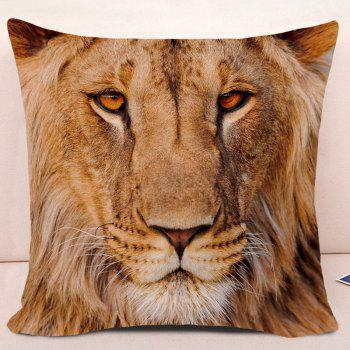 Lion Head 3D Printed Throw Pillow Case - YELLOW LION W18 INCH * L18 INCH