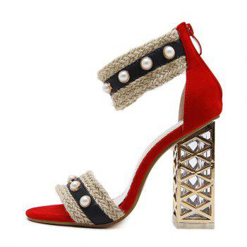 Faux Pearl Chunky Heel Sandals - RED 36