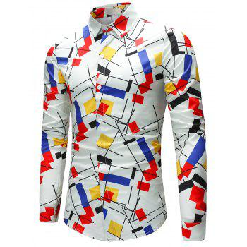 Geometric and Color Block Pattern Shirt - COLORMIX XL
