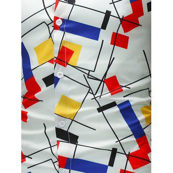 Geometric and Color Block Pattern Shirt - COLORMIX 4XL