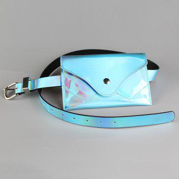 Funny Bag Decorated Artificial Patent Leather Skinny Belt - WINDSOR BLUE