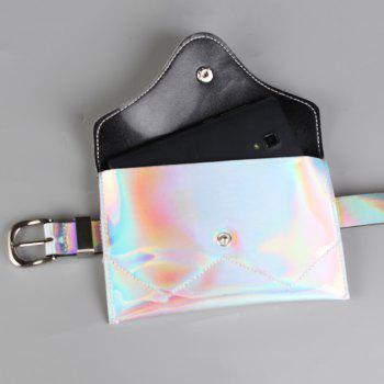 Funny Bag Decorated Artificial Patent Leather Skinny Belt - SILVER