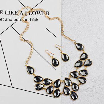 Waterdrop Artificial Cubic Crystal Pendant Necklace and Earrings Set - BLACK