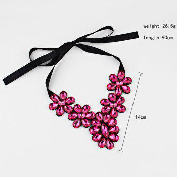 Exaggerated Faux Crystal Flower Ribbon Necklace - RED