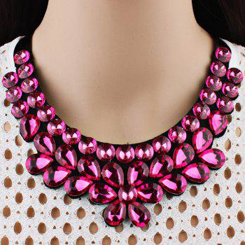Exaggerated Faux Crystal Detachable Collar Floral Necklace - RED
