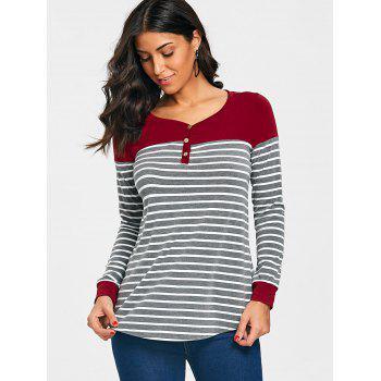 Stripe V Neck Long Sleeve T-shirt - CLARET XL
