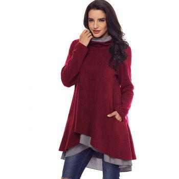 Cowl Neck High Low Tiered Tunic Top - BURGUNDY L