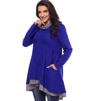 Cowl Neck High Low Tiered Tunic Top - BLUE 2XL