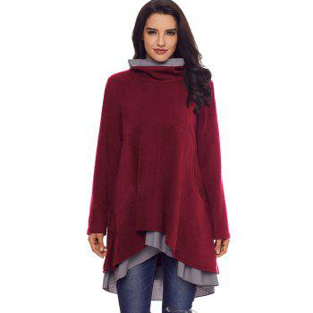 Cowl Neck High Low Tiered Tunic Top - BURGUNDY S