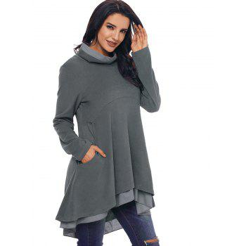 Cowl Neck High Low Tiered Tunic Top - GRAY 2XL