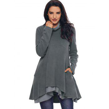 Cowl Neck High Low Tiered Tunic Top - GRAY XL